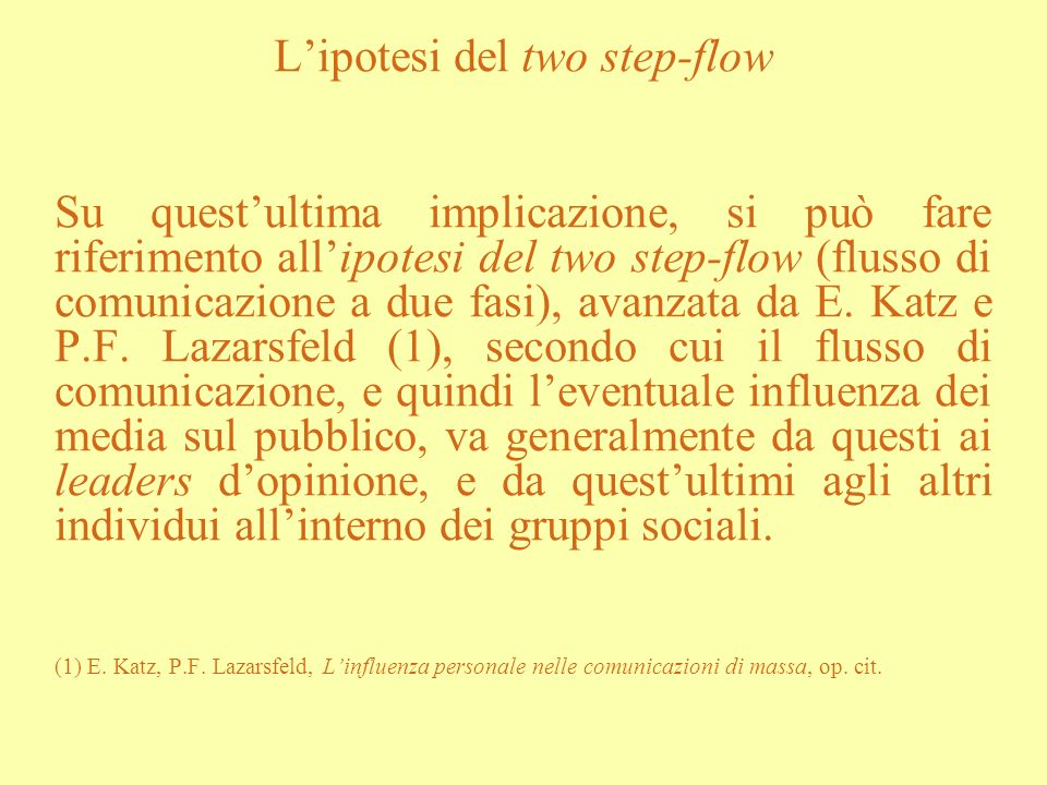 L'ipotesi del two step-flow
