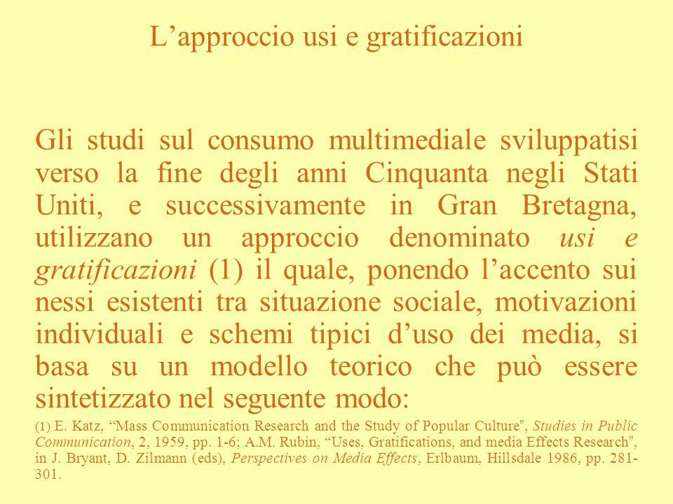 L'approccio usi e gratificazioni