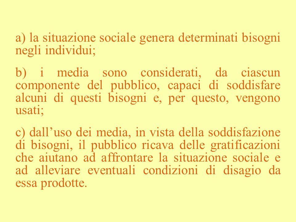 a) la situazione sociale genera determinati bisogni negli individui;