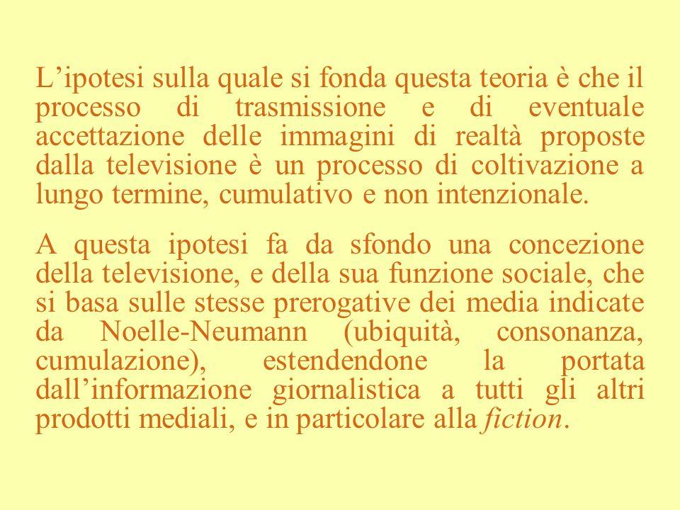 L'ipotesi sulla quale si fonda questa teoria è che il processo di trasmissione e di eventuale accettazione delle immagini di realtà proposte dalla televisione è un processo di coltivazione a lungo termine, cumulativo e non intenzionale.