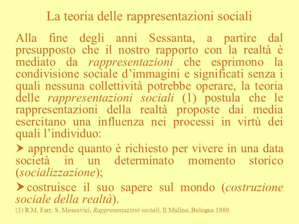 La teoria delle rappresentazioni sociali