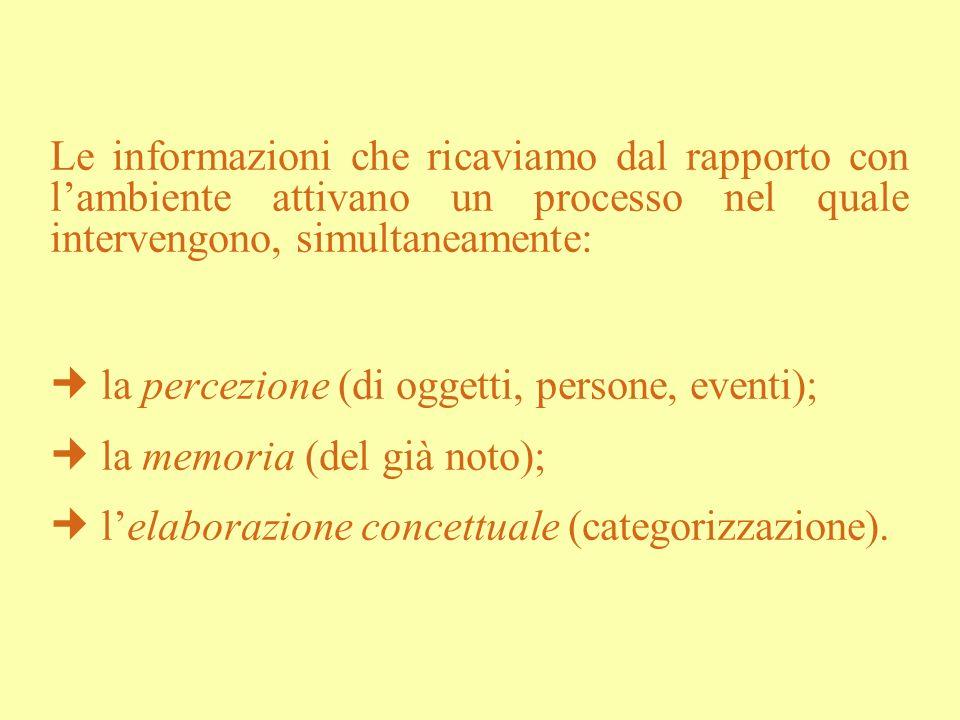  la percezione (di oggetti, persone, eventi);