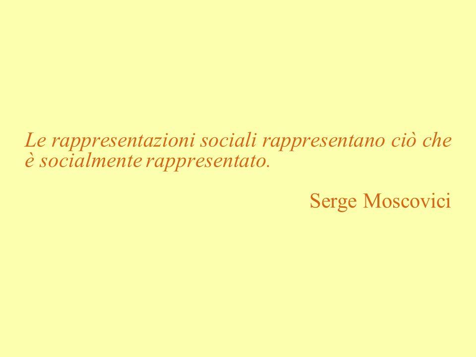 Le rappresentazioni sociali rappresentano ciò che è socialmente rappresentato.
