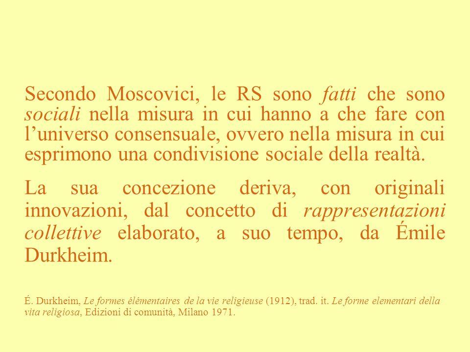 Secondo Moscovici, le RS sono fatti che sono sociali nella misura in cui hanno a che fare con l'universo consensuale, ovvero nella misura in cui esprimono una condivisione sociale della realtà.