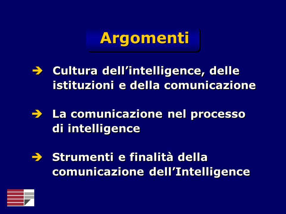 ArgomentiCultura dell'intelligence, delle istituzioni e della comunicazione. La comunicazione nel processo di intelligence.