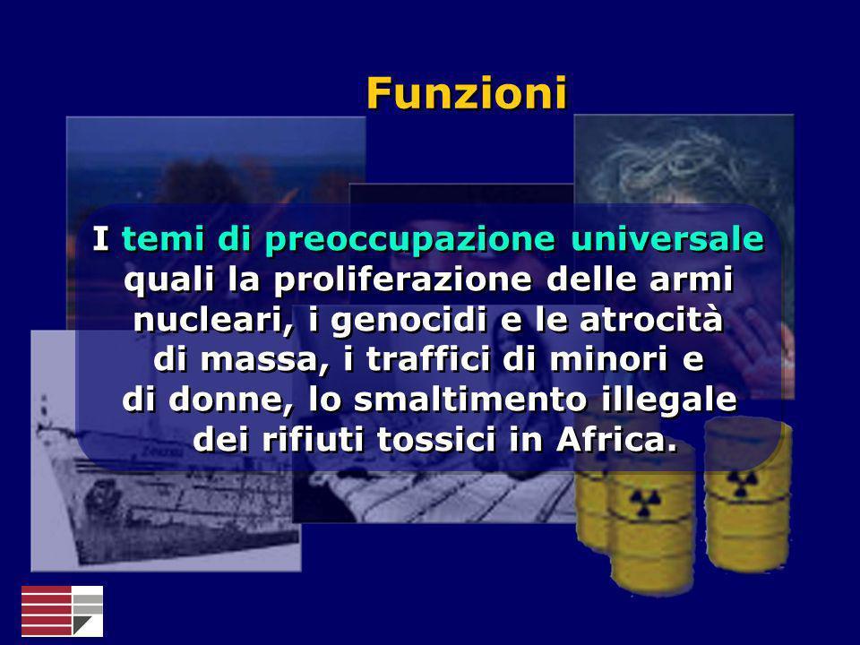 FunzioniI temi di preoccupazione universale quali la proliferazione delle armi nucleari, i genocidi e le atrocità.