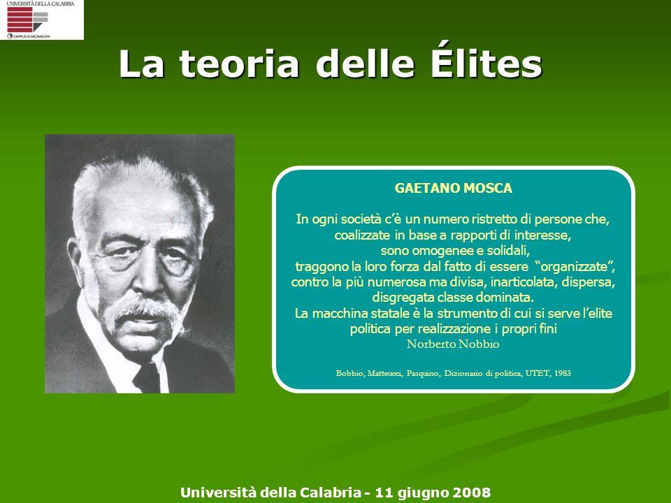 La teoria delle Élites GAETANO MOSCA