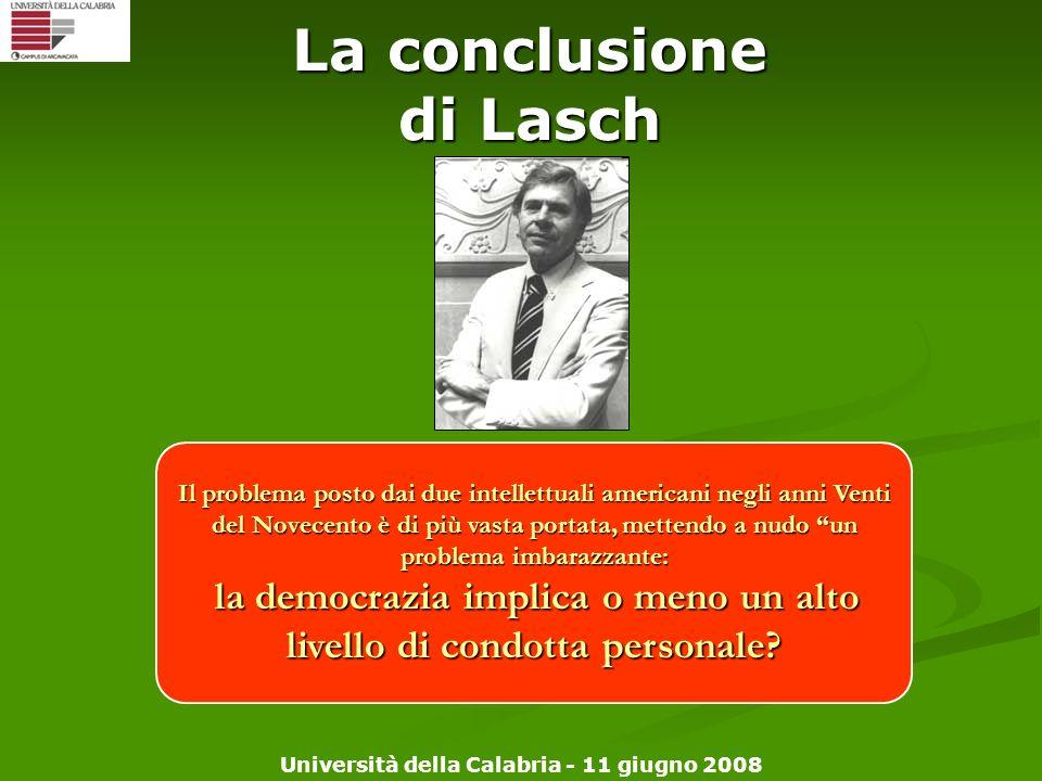 La conclusione di Lasch