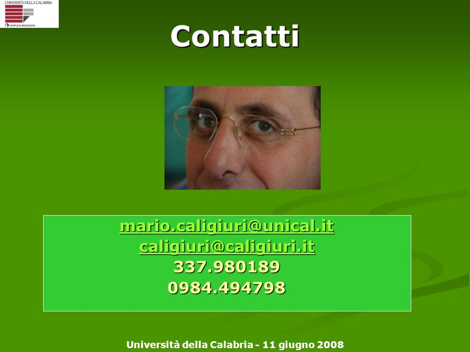 Contatti mario.caligiuri@unical.it caligiuri@caligiuri.it 337.980189