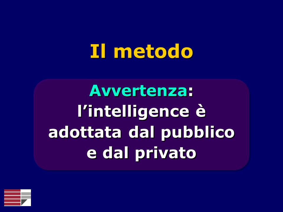Avvertenza: l'intelligence è adottata dal pubblico e dal privato