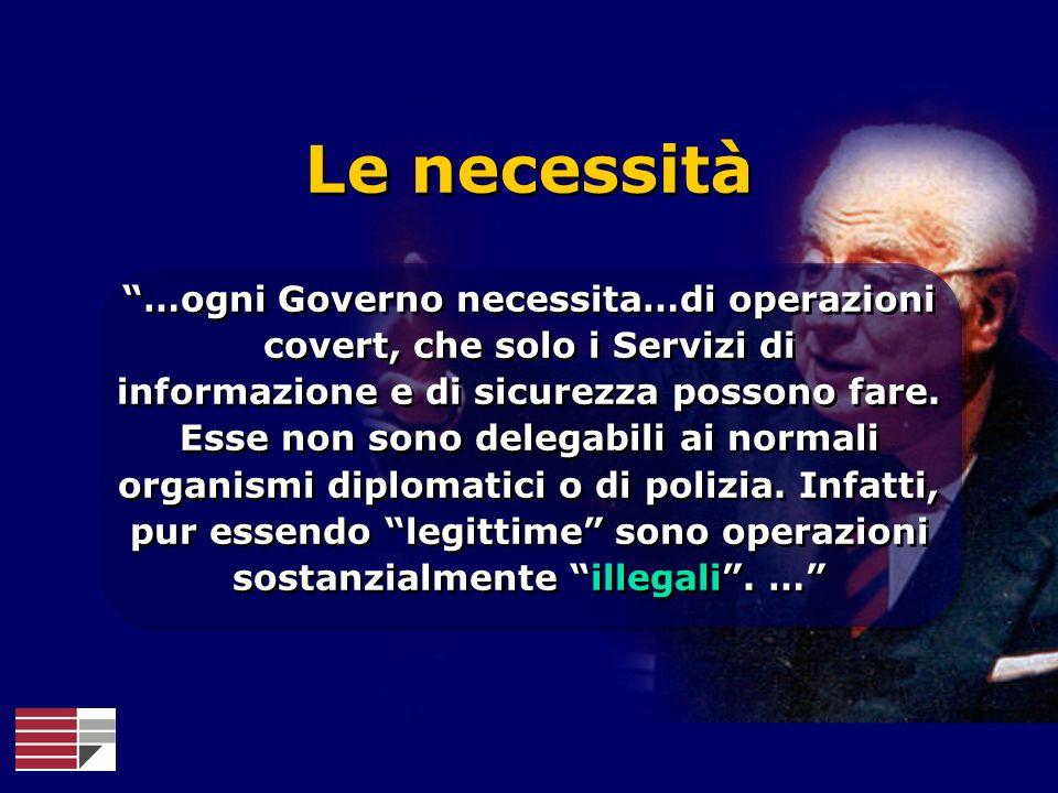 …ogni Governo necessita…di operazioni covert, che solo i Servizi di