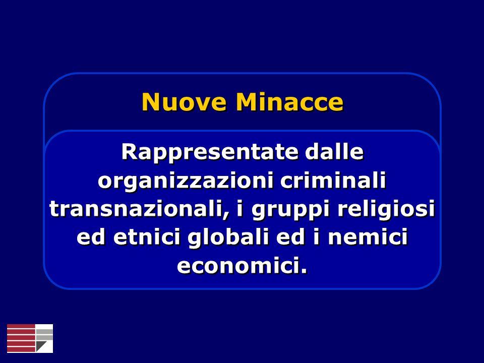 Nuove Minacce Rappresentate dalle organizzazioni criminali transnazionali, i gruppi religiosi ed etnici globali ed i nemici economici.