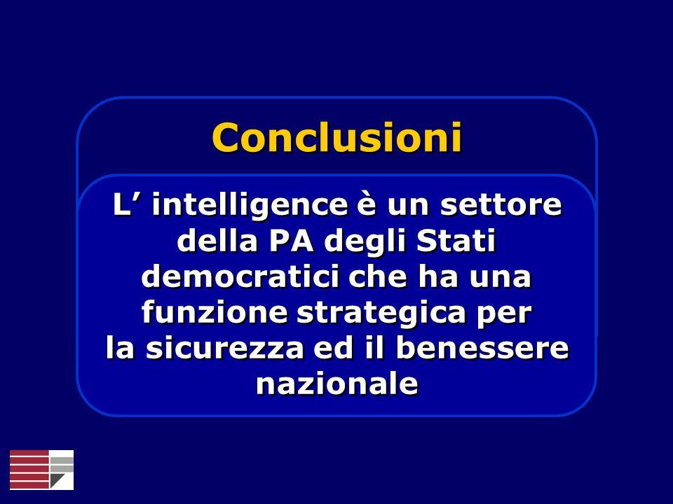 Conclusioni L' intelligence è un settore della PA degli Stati democratici che ha una funzione strategica per la sicurezza ed il benessere nazionale.