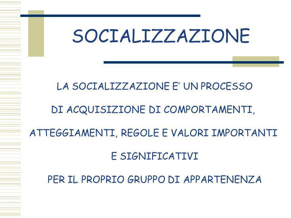 SOCIALIZZAZIONE LA SOCIALIZZAZIONE E' UN PROCESSO