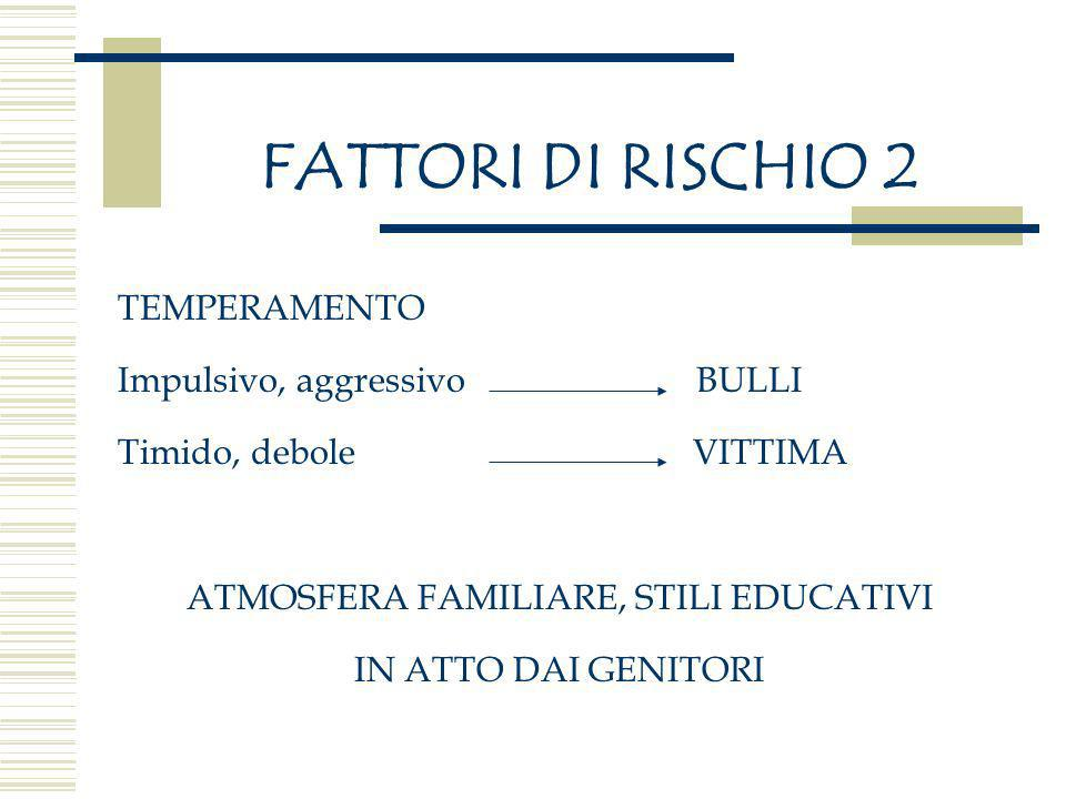 ATMOSFERA FAMILIARE, STILI EDUCATIVI