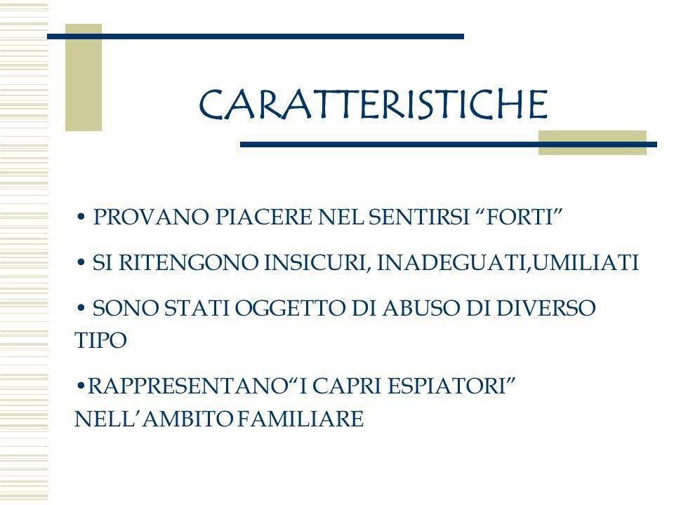 CARATTERISTICHE PROVANO PIACERE NEL SENTIRSI FORTI