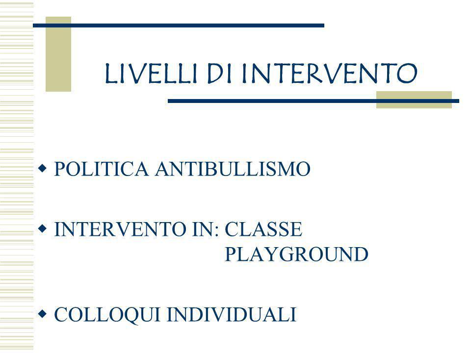 LIVELLI DI INTERVENTO POLITICA ANTIBULLISMO