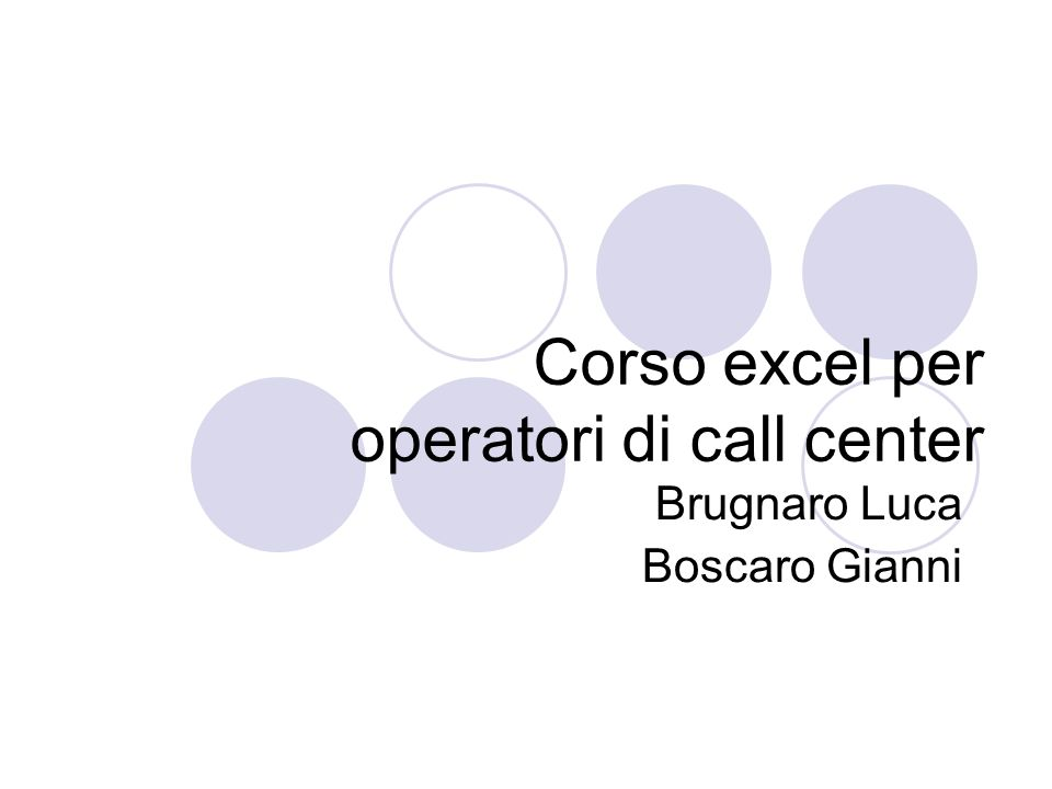 Corso excel per operatori di call center