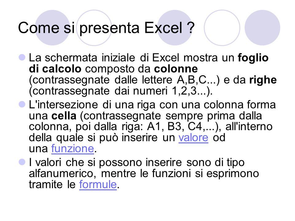 Come si presenta Excel