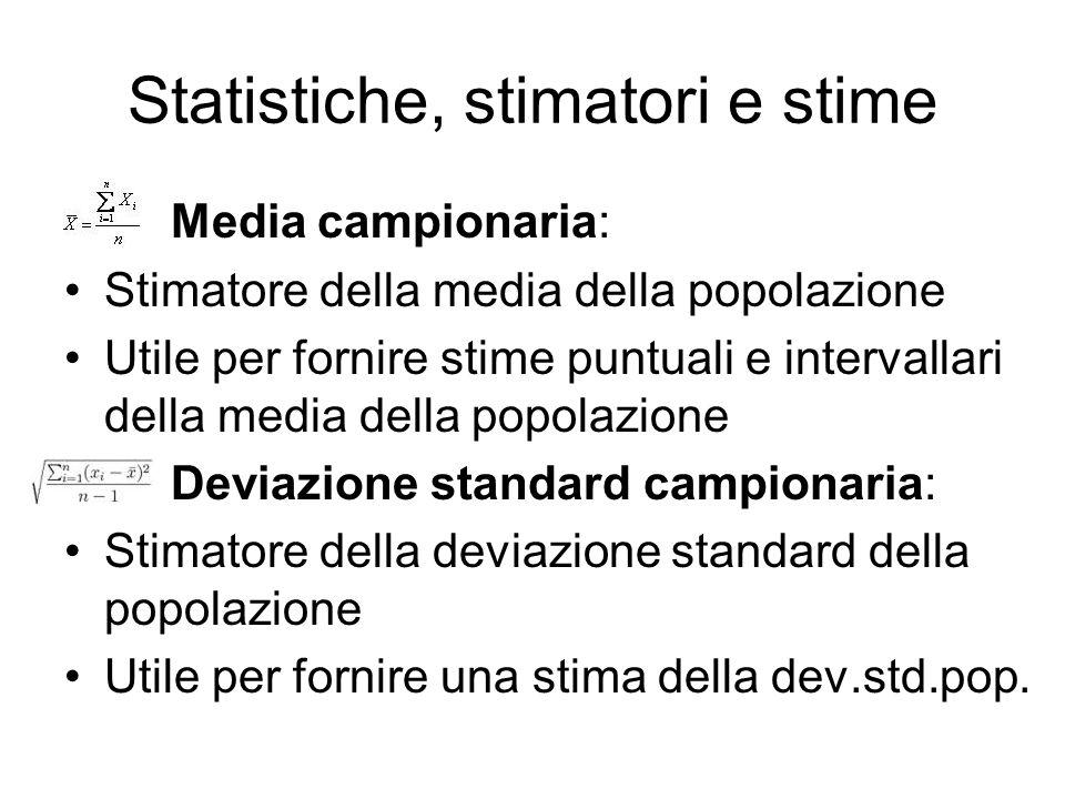 Statistiche, stimatori e stime