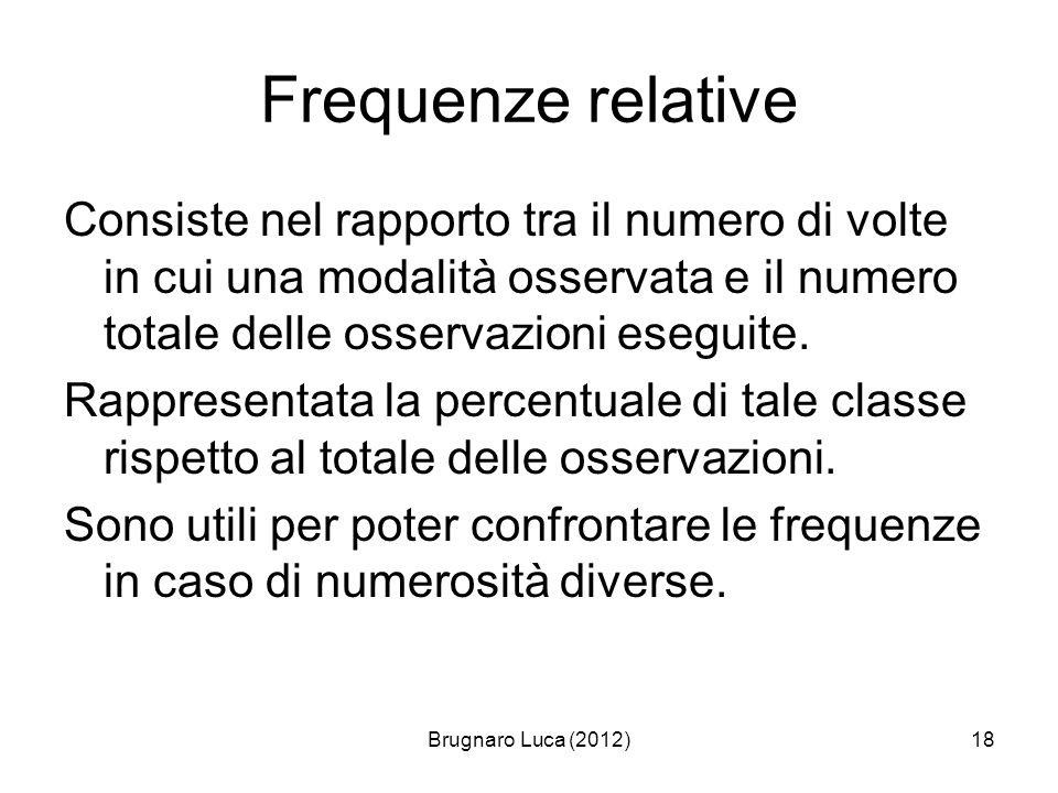 Frequenze relative Consiste nel rapporto tra il numero di volte in cui una modalità osservata e il numero totale delle osservazioni eseguite.