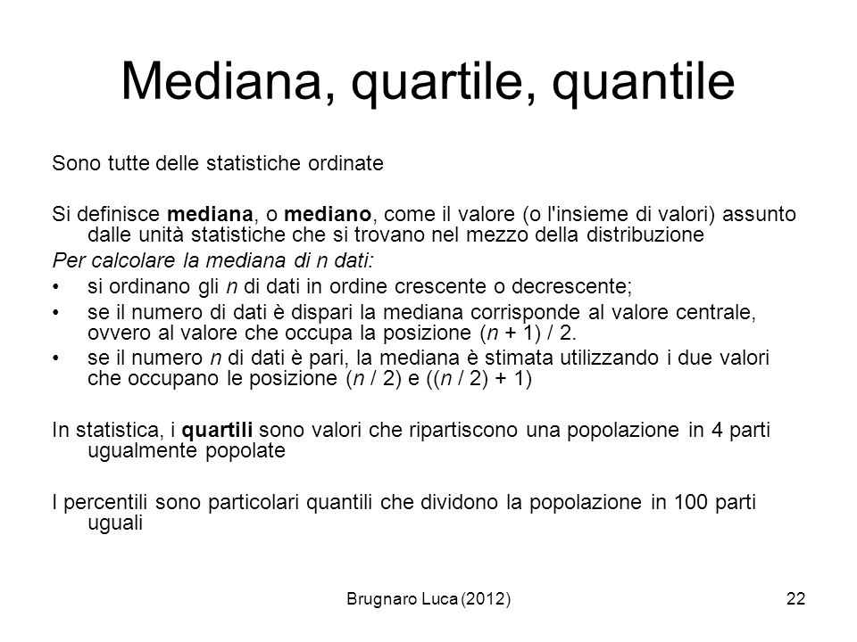 Mediana, quartile, quantile