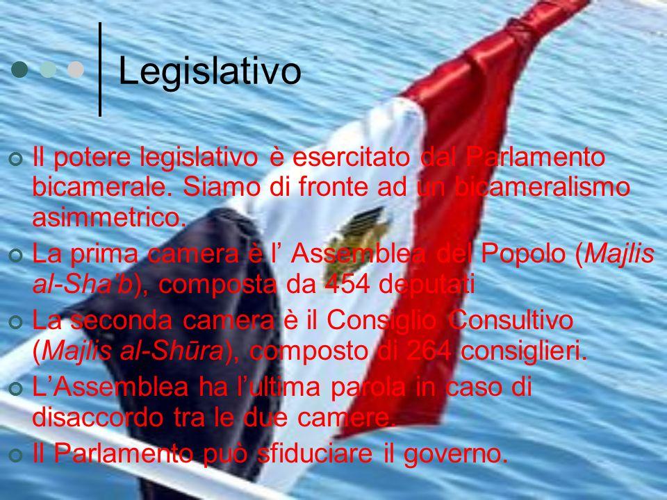 Legislativo Il potere legislativo è esercitato dal Parlamento bicamerale. Siamo di fronte ad un bicameralismo asimmetrico.