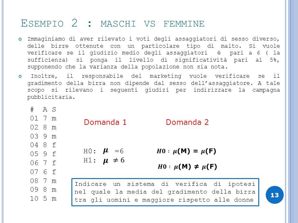 Esempio 2 : maschi vs femmine