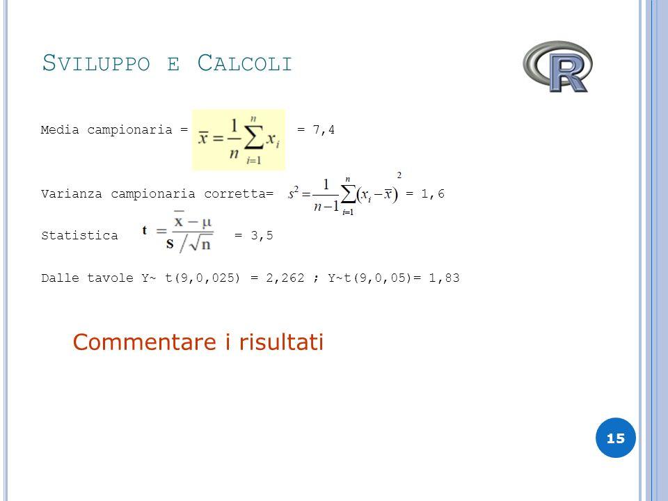 Sviluppo e Calcoli Commentare i risultati