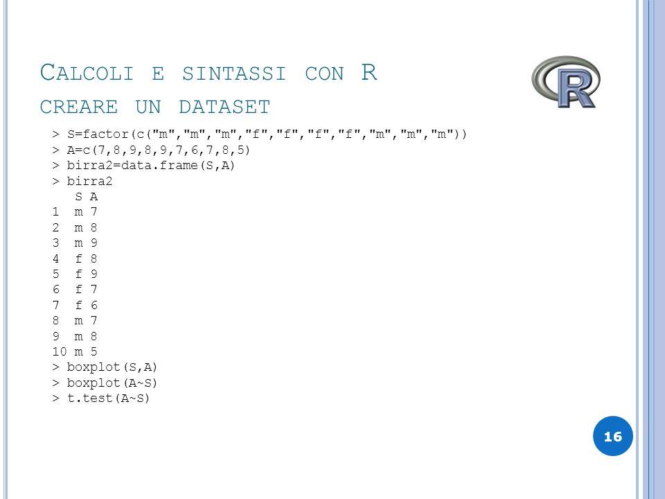 Calcoli e sintassi con R creare un dataset