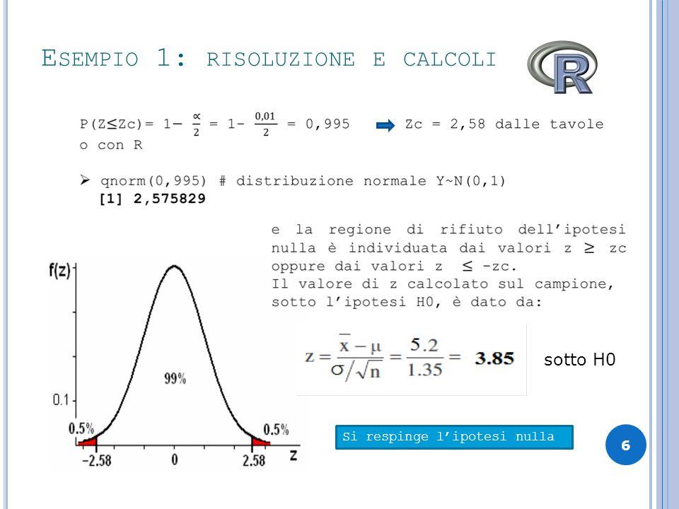 Esempio 1: risoluzione e calcoli