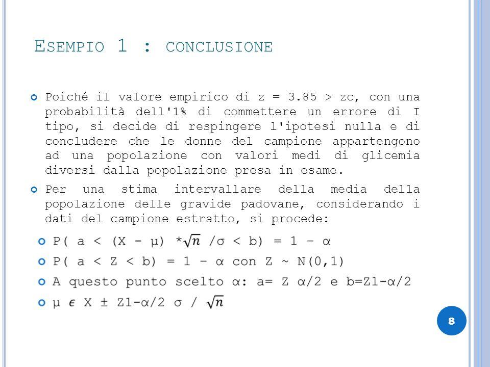 Esempio 1 : conclusione