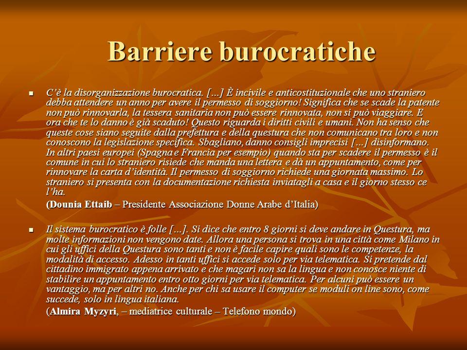 Barriere burocratiche