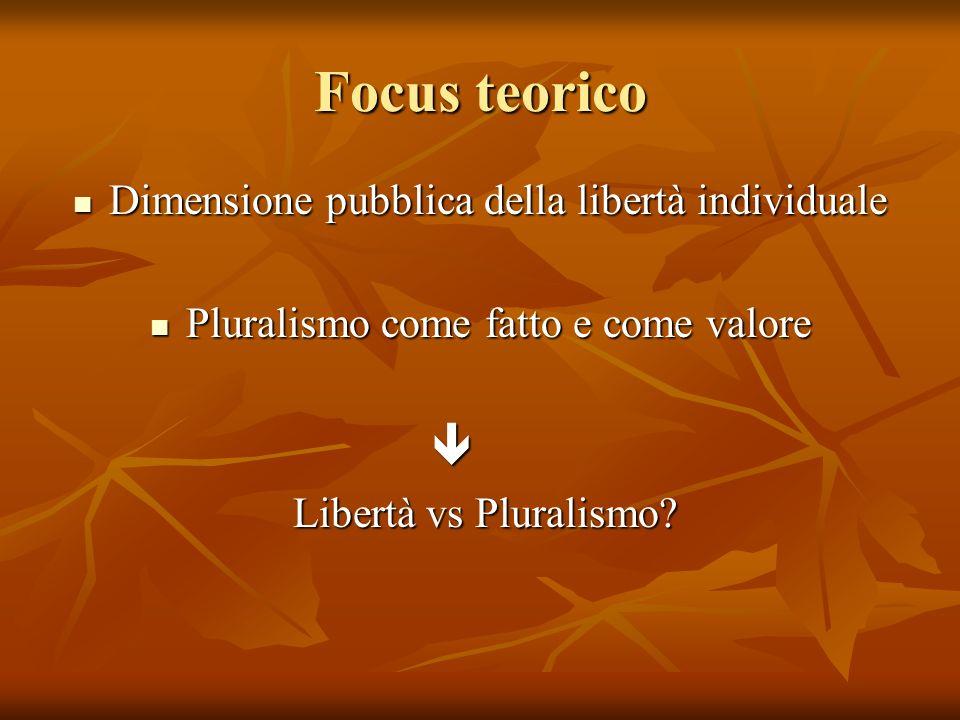 Focus teorico Dimensione pubblica della libertà individuale