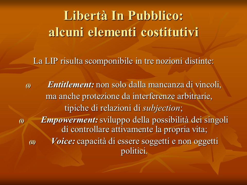 Libertà In Pubblico: alcuni elementi costitutivi