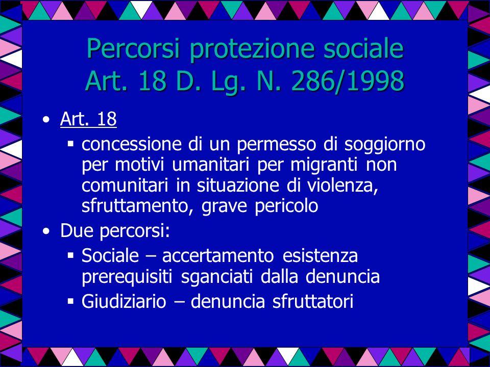 Percorsi protezione sociale Art. 18 D. Lg. N. 286/1998