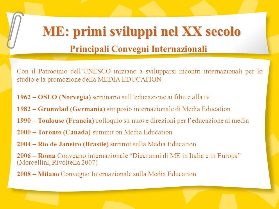 ME: primi sviluppi nel XX secolo Principali Convegni Internazionali
