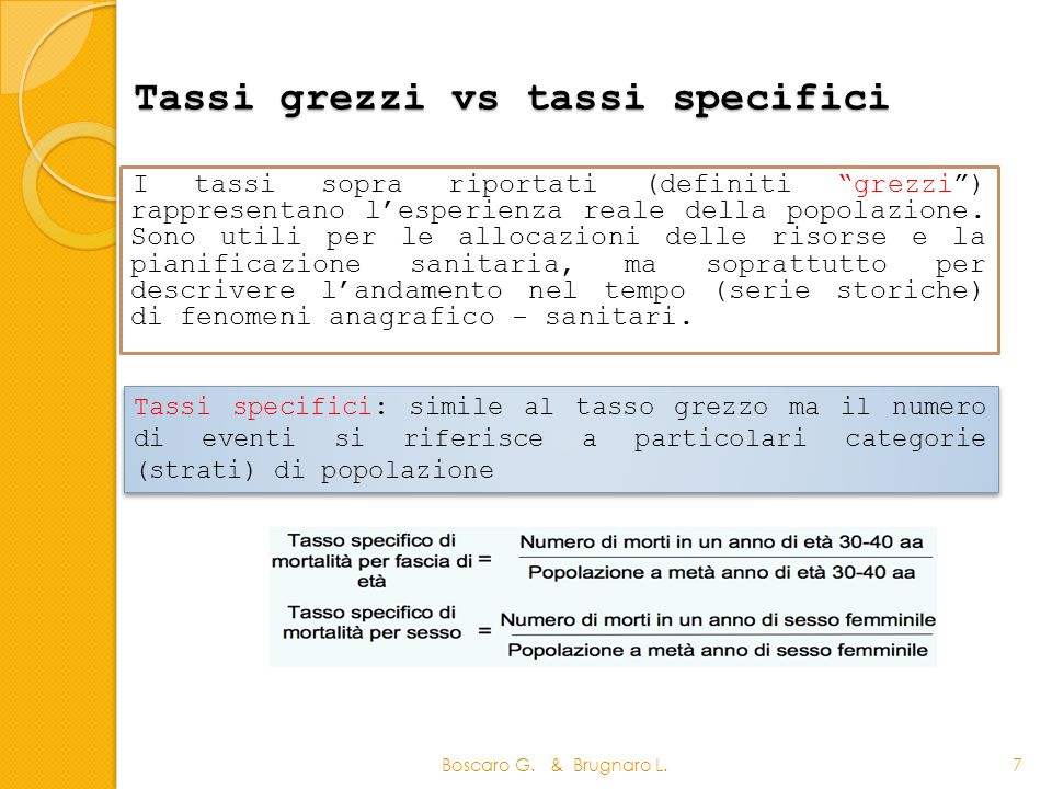Tassi grezzi vs tassi specifici