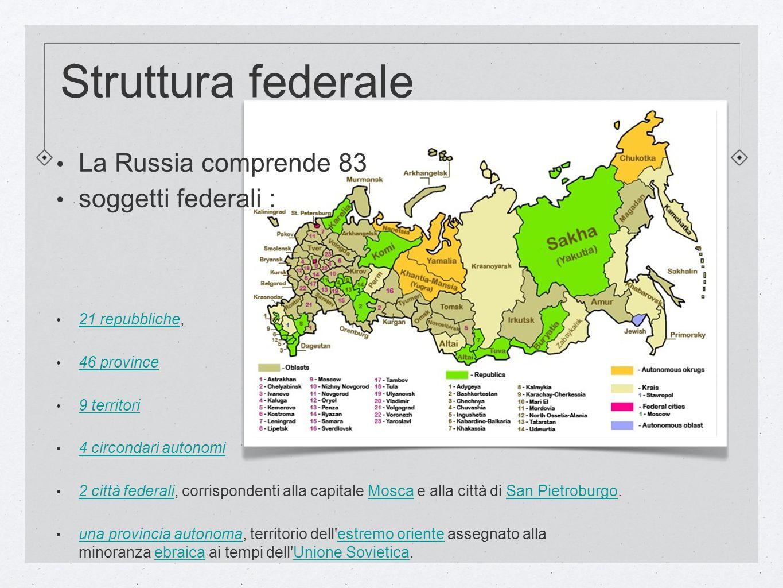 Struttura federale La Russia comprende 83 soggetti federali :