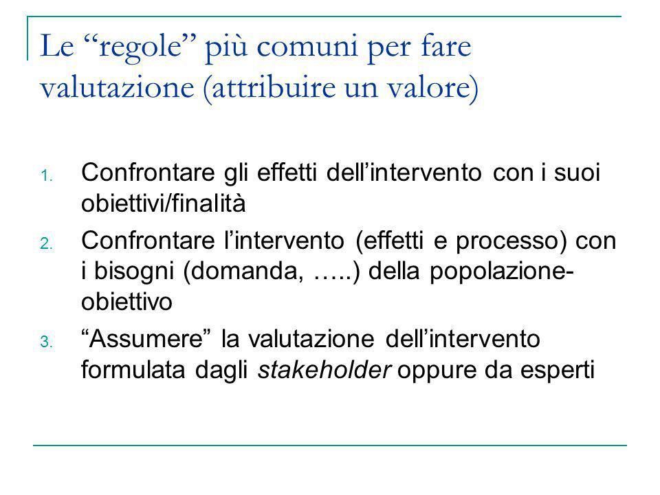 Le regole più comuni per fare valutazione (attribuire un valore)