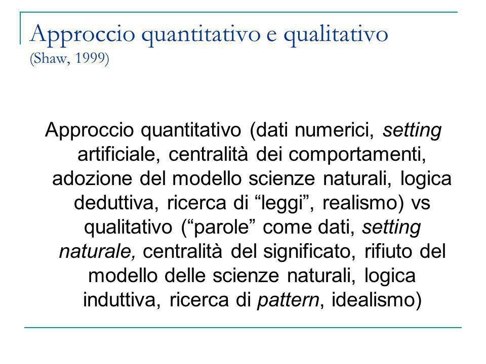 Approccio quantitativo e qualitativo (Shaw, 1999)