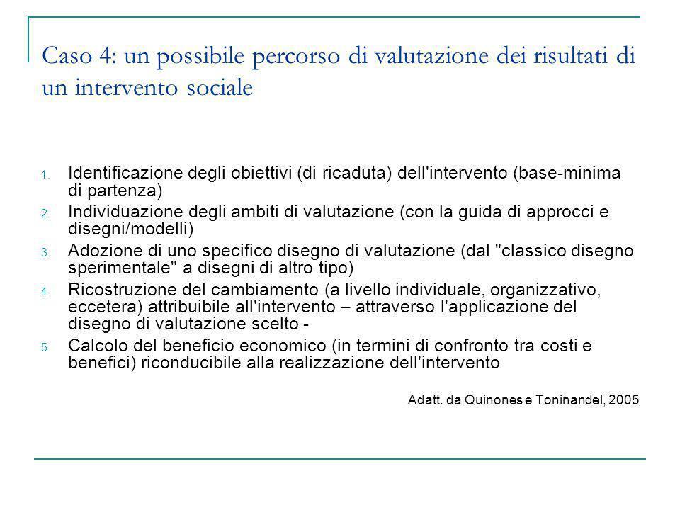 Caso 4: un possibile percorso di valutazione dei risultati di un intervento sociale