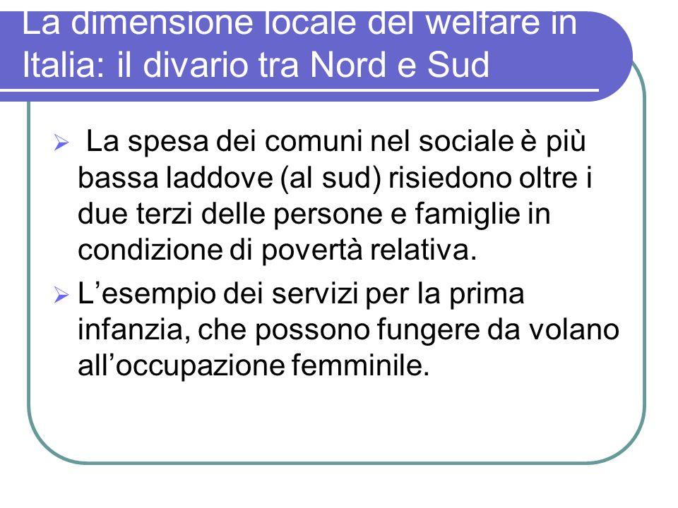 La dimensione locale del welfare in Italia: il divario tra Nord e Sud