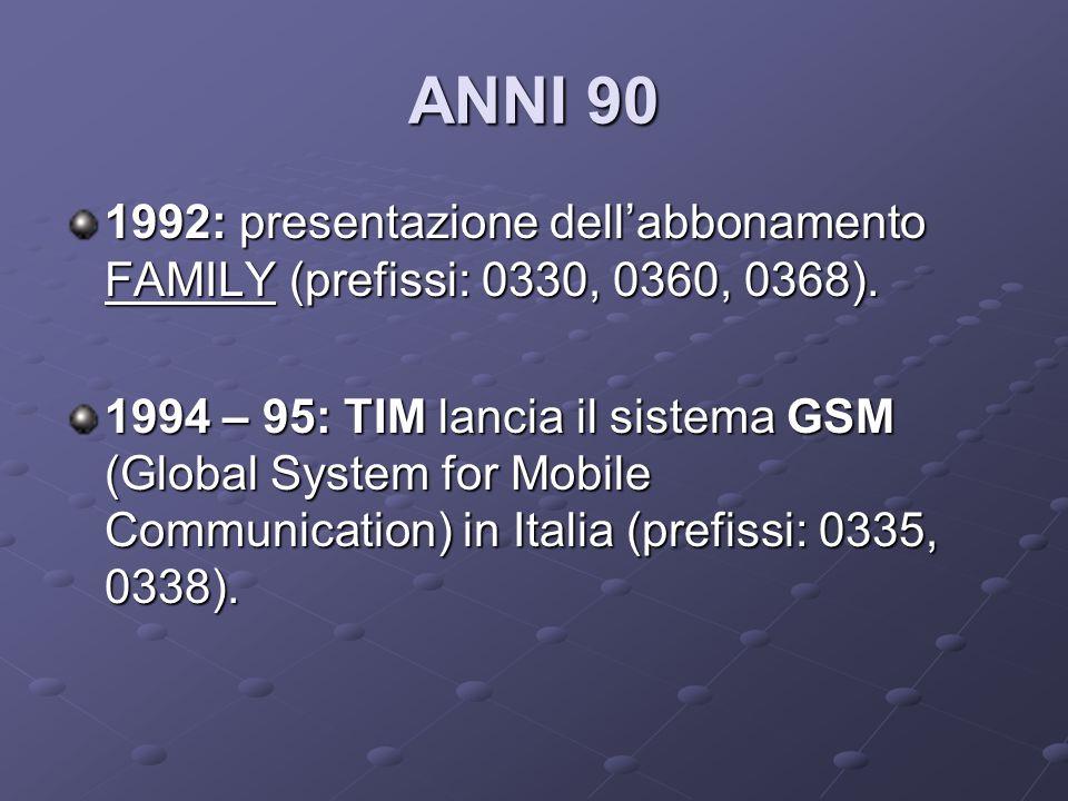 ANNI 90 1992: presentazione dell'abbonamento FAMILY (prefissi: 0330, 0360, 0368).