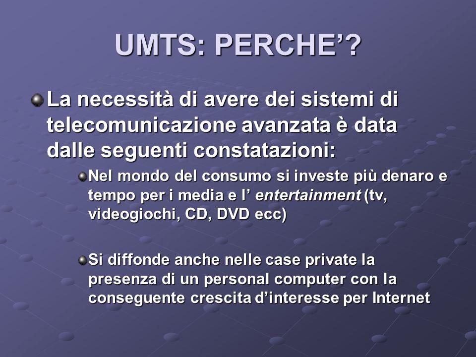 UMTS: PERCHE' La necessità di avere dei sistemi di telecomunicazione avanzata è data dalle seguenti constatazioni: