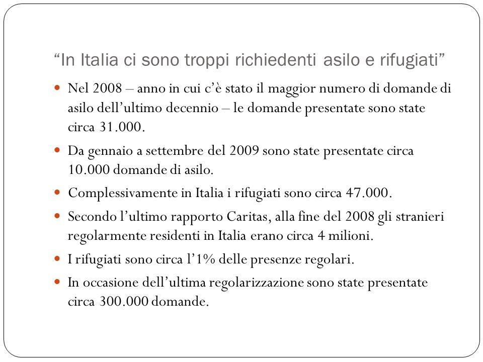 In Italia ci sono troppi richiedenti asilo e rifugiati