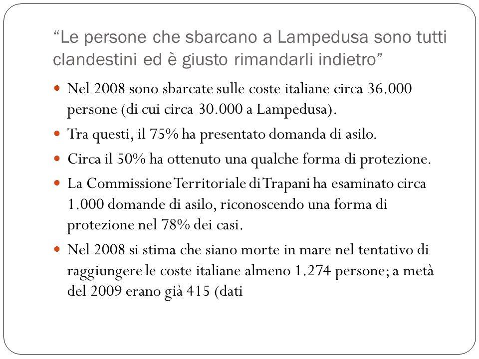 Le persone che sbarcano a Lampedusa sono tutti clandestini ed è giusto rimandarli indietro