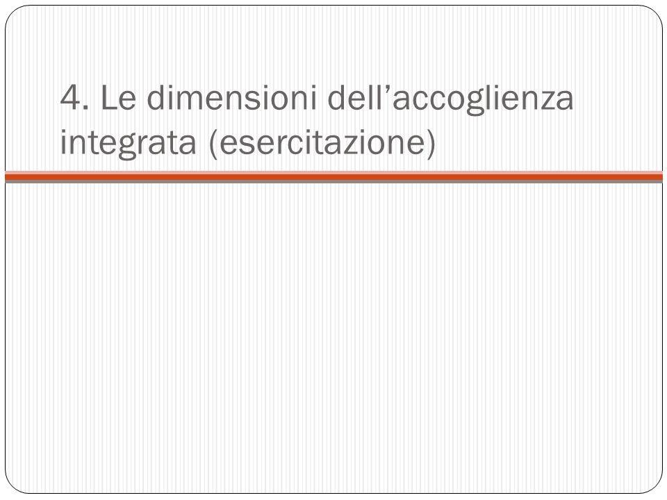 4. Le dimensioni dell'accoglienza integrata (esercitazione)