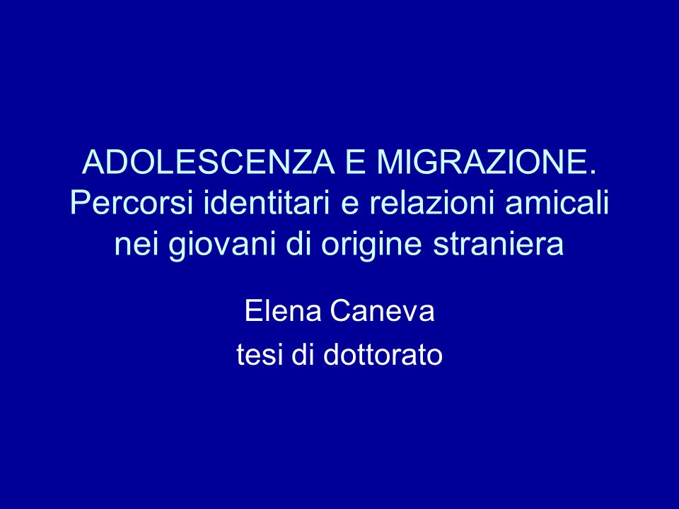 Elena Caneva tesi di dottorato