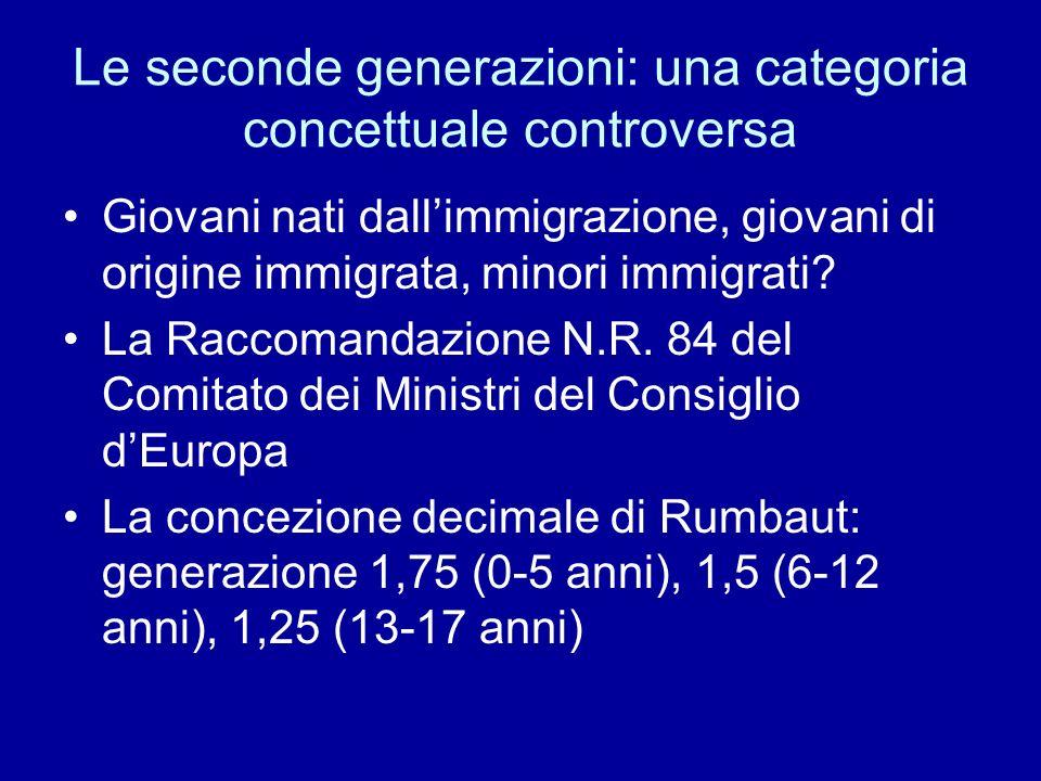 Le seconde generazioni: una categoria concettuale controversa